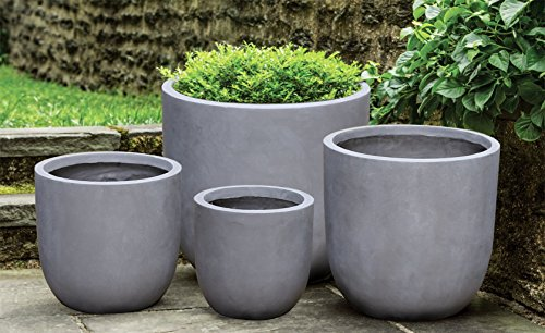 Concrete Round Planter - Kasamodern Concrete Round Planter Pot, Large, Gray Cement