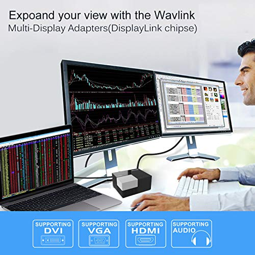 WAVLINK USB 3.0 Universal Laptop Docking Station Dual Video Display for Laptop, Tablets, Android 5.0 Later Phone(HDMI,DVI & VGA, Gigabit Ethernet,2 Red Charging Port, 4 USB Data Ports,Audio)