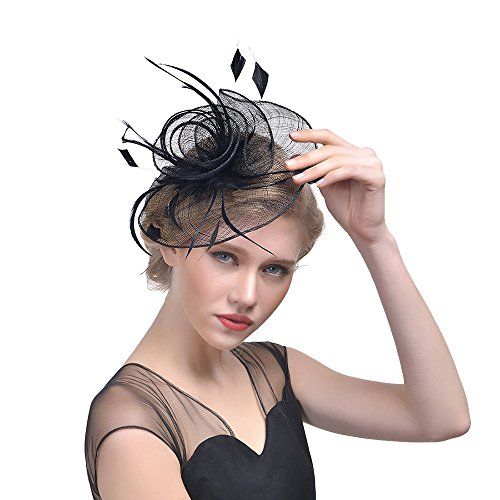 Fascinators Hats for Womens 50s Headwear with Veil Flower Cocktail Wedding Tea Party Hat (Black)
