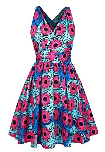Naimo Girls Bohemia Style Pleated Dress 3D Printing Multi-Way African Dress by Naimo