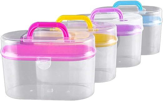 SUPVOX caja de suministros de costura de plástico caja de costura de doble capa organizador de almacenamiento de costura de contenedor de artesanía de punto vacío con mango (color aleatorio): Amazon.es: Hogar