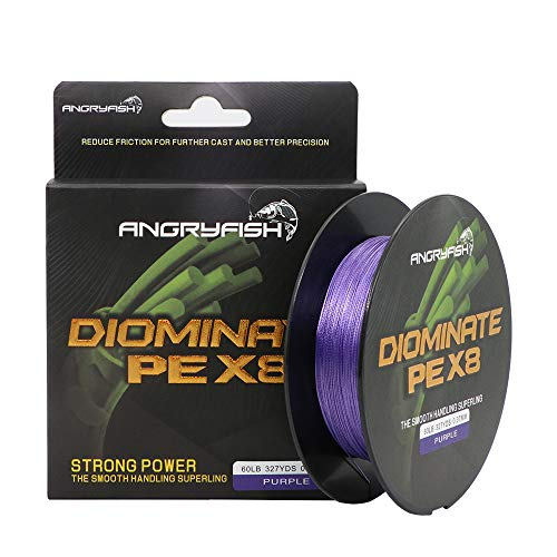 ANGRYFISH 8 Stands 300M/327Y Braided Fishing Line Excellent Tensile Smooth Super Strong PE Fishing Line for Saltwater and Freshwater(Purple,60LB/0.37MM)
