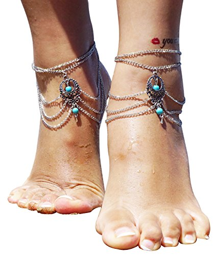Pebbles Costumes Ideas (2 Pcs Barefoot Sandals Beach Foot Jewelry Turquoise Jewelry Anklet Chain Arm Chain Tassel)