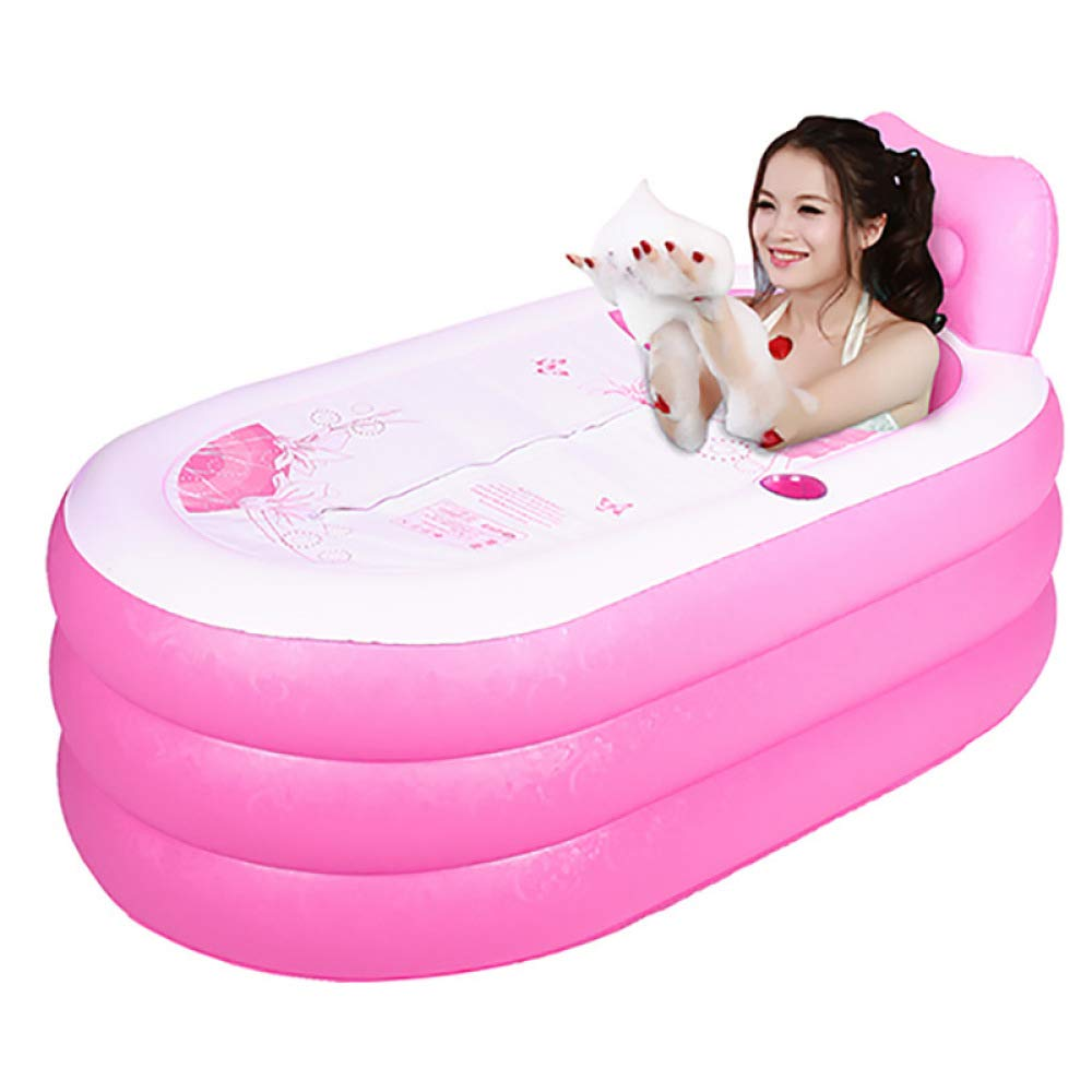 WU LAI Faltbadewanne Fü r Erwachsene | Aufblasbare Badewanne | Tragbare Badewanne | Fü r SPA-Belü ftungsbadewanne (Farbe: Blau, Pink),Blue-70x70x130cm doune