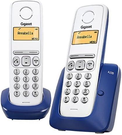 Gigaset A230 Duo - Teléfono fijo inalámbrico, color azul y blanco: Gigaset: Amazon.es: Electrónica