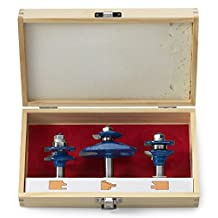 Neiko 10111A Ogee Cutter Router Bit Set for Cabinets, Handrails and Other Wood Surfaces   1/2-inch Shank   3-Piece Set by Neiko