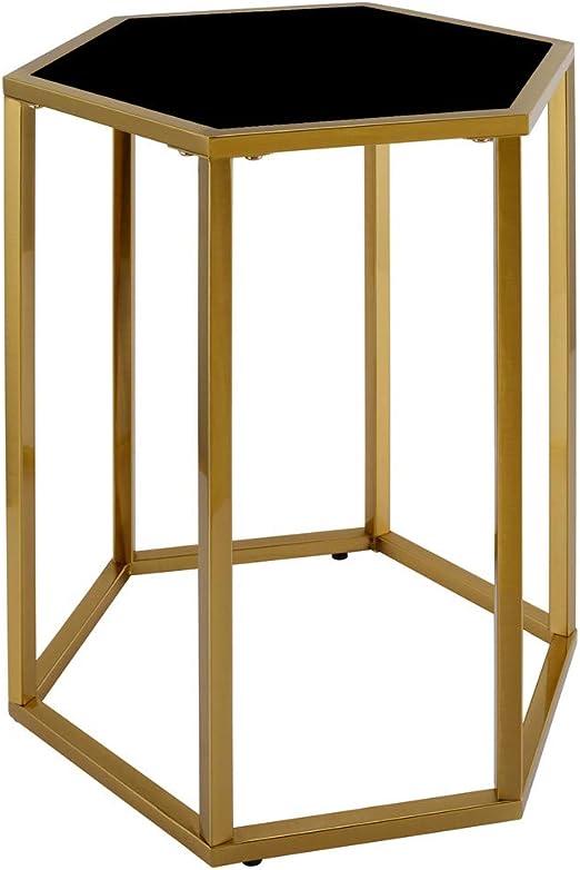 Mesa Auxiliar, diseño Moderno, Mesa Auxiliar Hexagonal de Metal con Cristal y Parte Superior de Espejo: Amazon.es: Hogar