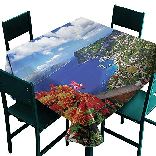 Glifporia Waterproof Tablecloth Rectangle Island,Scenic Capri Island,Italy Mountain Houses Flowers View from Balcony Landmark,Blue Green Orange,W70 x L70 Party Tablecloth Covers