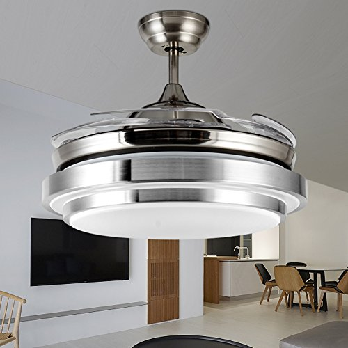 Yue Jia 42 Inch Promoting Natural Ventilation Invisible Fan Modern Luxury Dimmable (Warm/Daylight/Cool White) Chandelier Foldable Ceiling Fans for Rooms With Lights Ceiling Fan with Remote Control by YUEJIA (Image #3)