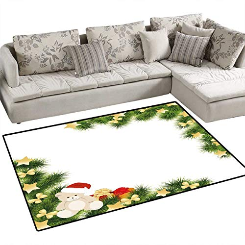 Kids Christmas Kids Carpet Playmat Rug Cute Teddy Bear on Evergreen Branches with Stars Bowties Surprise Boxes Door Mats for Inside Non Slip Backing 36