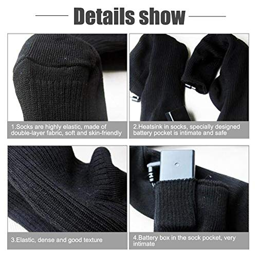 cheerfulus-123 4.5V Cotton Heated Socks for Men Women,Rechargeable Washable Electric Warm Thermal Socks,Dual-Layer Battery Operated Winter Foot Warmers for Outdoor Skiing Hiking