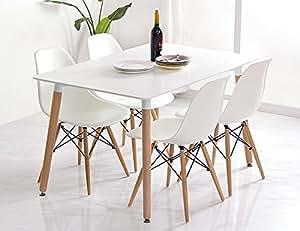 Conjunto de comedor mesa lacada blanca y 4 sillas tower for Sillas comedor amazon
