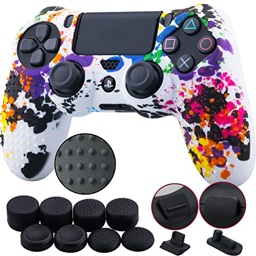 (9CDeer 1 Piece of Silicone Studded Water Transfer Protective Sleeve Case Cover Skin + 8 Thumb Grips Analog Caps + 2 dust proof plugs for PS4/Slim/Pro Dualshock 4 Controller, Splashing Graffiti)