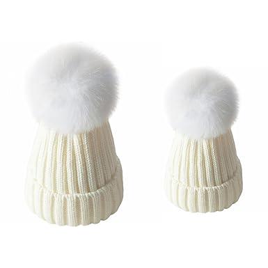 ZLFT Mère et bébé Fille   Fils Bonnet en tricot à l hiver Chapeau à ... b8ae74e888a