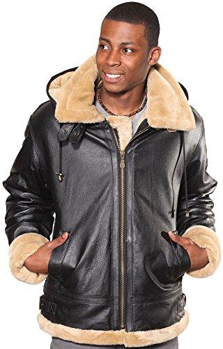 Wilda Men's B-3 Bomber Leather Jacket - Faux Fur Througho...