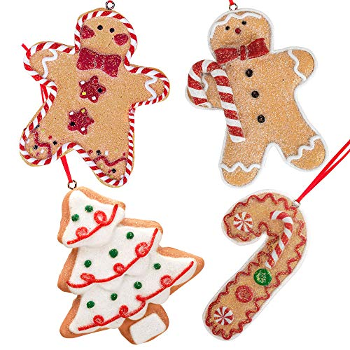 Gingerbread Christmas Ornaments - Man Boy Girl Tree Candy Cane Cookie Rustic Christmas Decorations Set of 4 - Claydough Christmas Tree Decorations - Christmas Tree Ornaments With Gift Box (Ornament Candy)