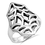 Oxidized Spider Web Filigree Cutout Ring New 925 Sterling Silver Band Sizes 6-10