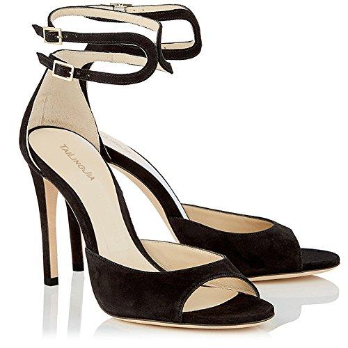 High L Black Toe yc Kitten Peep vestido Fiesta Sandalias Heels Vendajes De Mujer corte Sw6qUZxS