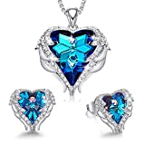 CDE Valentine's Jewelry Set Sapphire Blue Crystsals from Swarovski Sets for Women Wedding Anniversary Brithday