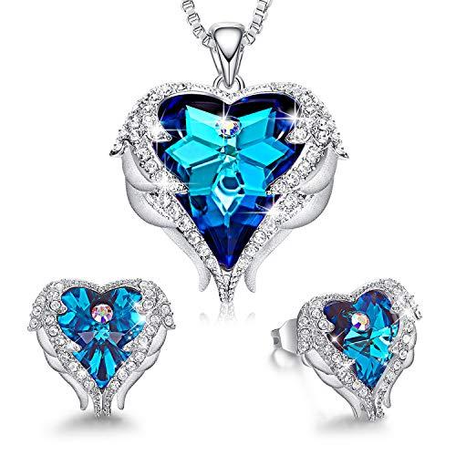 CDE Valentine's Jewelry Set Sapphire Blue Crystsals from Swarovski Sets for Women Wedding Anniversary Brithday