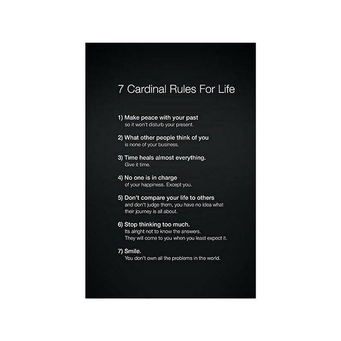 amazon com 7 cardinal rules of life fashion cool poster print