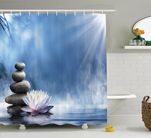 Ambesonne Spa Decor Collection, Purity of the Zen Massage Magic Lily Stones Sunbeams Spirituality Serenity Picture Print, Polyester Fabric Bathroom Shower Curtain, 84 Inches Extra Long, Blue Dimgray (Collection Purity)