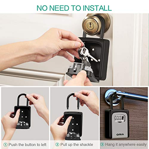 ORIA Key Storage Lock Box, 4 Digit Combination Wall Mounted