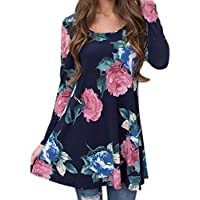 Hot ! Women Blouse, Ninasill Exclusive Autumn Casual Print Flower Long Sleeve T-Shirt Top Blouse (L, Navy)