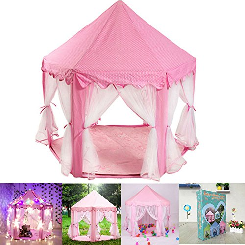Pink Tent Princess House Castle Playhouse Kids In/Outdoor Fa