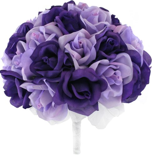 Purple-and-Lavender-Silk-Rose-Hand-Tie-3-Dozen-Roses-Bridal-Wedding-Bouquet