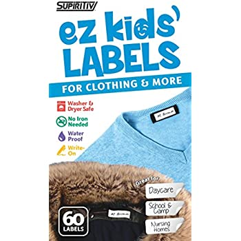 Supiritiv All Purpose Ez Kids' Clothing Labels, Stick-On No-Iron, Writable, Washer & Dryer Safe, 60 pcs