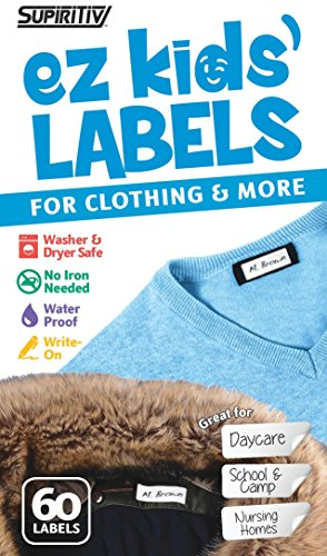 Stick-On Clothing Labels, Supiritiv All Purpose Ez Kids' and Adult's Labels, Stick-On No-Iron, Writable, Washer & Dryer Safe, 60 Labels -