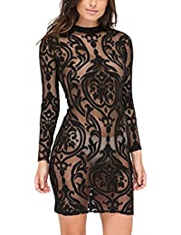 Women's Sexy Stylish Long Sleeve Mesh See Through Backless Bandage Club Dress