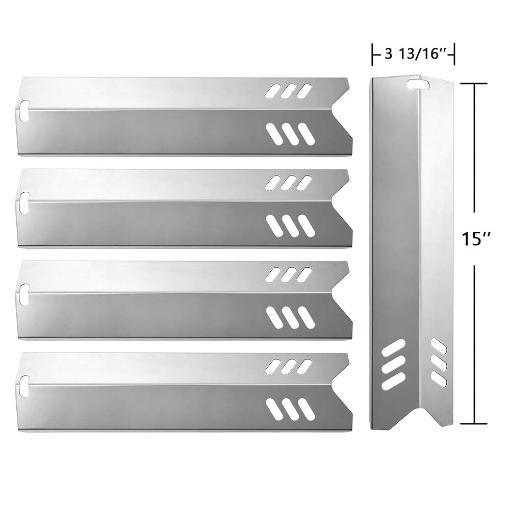SHINESTAR Grill Replacement Parts for Uniflame GBC1059WB, Backyard Grill GBC1255W, Better Home and Garden, 5-Pack 15 inch Stainless Steel Heat Plate Shield Tent Flame Tamer BBQ Burner Cover(SS-HP014)
