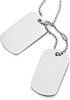 COOLSTEELANDBEYOND Classic Two-Pieces Mens Stainless Steel Dog Tag Pendant Necklace with 28.7 inches Ball Chain