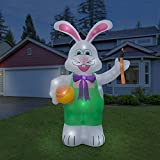Holidayana Inflatable Giant 8 Ft. Bunny With Paintbrush Inflatable Featuring Lighted Interior / Airblown Inflatable Easter Decoration With Built In Fan And Anchor Ropes