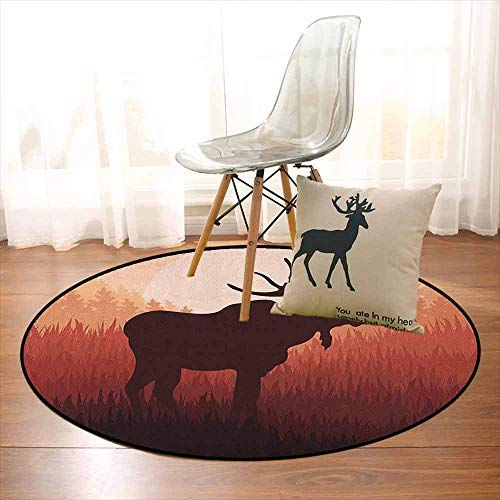 Moose 3D Printed Round Carpet Antlers in Wild Alaska Forest Rusty Abstract Landscape Design Deer Theme Woods for Partial Areas D39.7 Inch Peach and Brown
