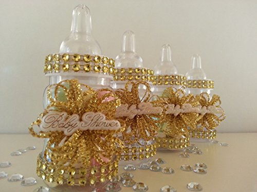 12 Gold Fillable Bottles for Baby Shower Favors Prizes or Games Girl Decorations by baby shower 789 (Image #4)