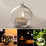 LiPing Pendant Crystal Glass Hanging Candle Holder Plant Terrarium Candlestick Holder Romantic Home Wedding Birthday Valentine's Day Dinner Decor (2.3in(6cm))