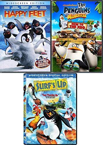 Order in the Zoo Penguins Collection Animated Happy Feet Meets a Blue Whale and New Madagascar + Surf's Up Emperor 3-Movie DVD Animated Bundle