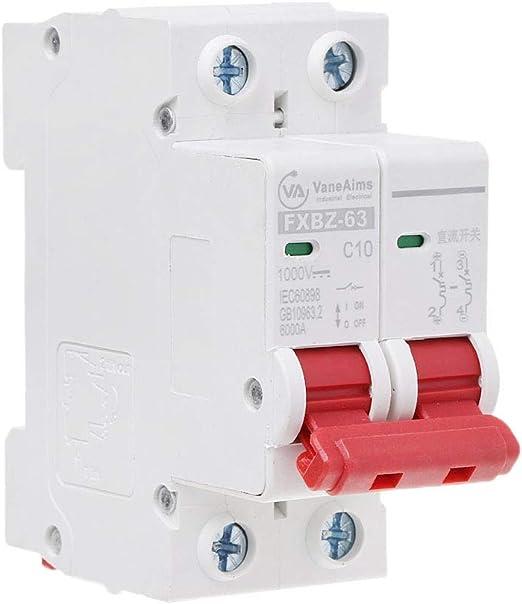 JOYKK Interruptor de energ/ía Solar Mini Central Solar 2P DC 1000V 10A DC MCB fotovoltaico Blanco