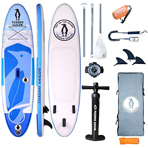 "Tuxedo Sailor TS Double Chamber Inflatable 10'×32""×6"" SUP with Everything Included with Stand Up Paddle Board, Adj 2 in 3 Paddle,Double Action Pump, ISUP Backpack, Leash,Waterproof Bag"
