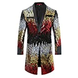 Cloudstyle Mens Tuxedo Single-Breasted Party Show Suit Sequins Punk Jacket Blazer