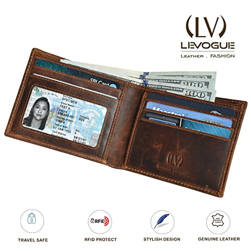 Genuine COW VINTAGE Leather RFID Blocking Handmade Bifold Wallet for Men 4 Credit card+1 ID Window+2 Note Compartment Minimalist Front Pocket Wallet- 100% Full Grain Cow Leather by LEVOGUE by LEVOGUE (Image #4)