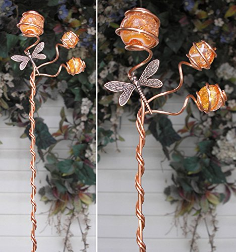 Dragonfly Garden Plant Stake - Metal Sculpture - Glass Copper Art - Outdoor Pond Decor Orange Swirl