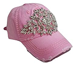 Large Horizontal Crystal Flower Distressed Baseball Cap