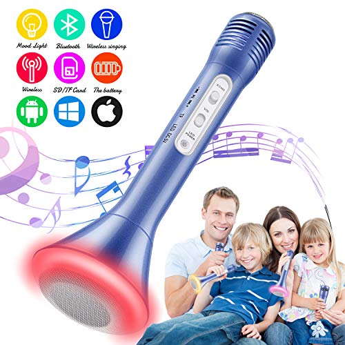 Tencoz Bluetooth Karaoke Microphone, Kids Portable Handheld Mic Speaker Machine Easter Gift for iPhone Android All Smartphones Wireless Microphone Loudspeaker Outdoor Birthday Home Party(Blue)