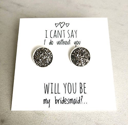 Bridesmaid Maid of Honor Gift Proposal Earrings Silver Gold 12mm 8mm