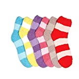 Size 9-11 Warm Cozy Fuzzy Stripped Color Cool Winter Slipper Bed Sock (6)