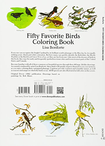 Fifty Favorite Birds Coloring Book Dover Nature Coloring Book Media Books Non Fiction Animal Books